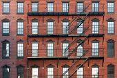 stock photo of brownstone  - Old brownstone apartment building in center city Philadelphia - JPG