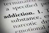 stock photo of crack addiction  - Close up of a dictionary word addiction