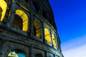 The Colosseum at evening in Rome, Italy.