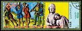 Vintage  Postage Stamp. Munich Olymhic City 1972. Shot-put.