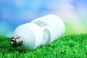Energy saving light bulb on green grass, on bright background
