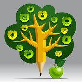 Education Template with pencil tree and green apple, web icons and place for your content