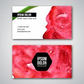 Set of business cards with watercolor background.