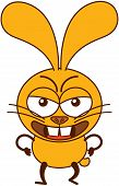 Cute yellow bunny in an angry attitude
