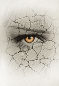 stock photo of drought  - womans face closeup with cracks - JPG