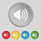 Speaker Volume Sign Icon. Sound Symbol. Set Colour Buttons. Vector