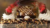 stock photo of ice-cake  - Colourful chocolate ice cream cake for celebration - JPG