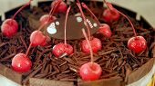 Colourful chocolate ice cream cake with cherries for celebration