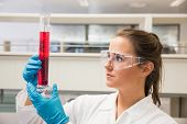 Young pharmacist holding beaker of red liquid at the laboratory