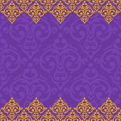 Vector Seamless Purple And Gold Frame/border In Damask Baroque Style