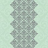 Vector Seamless Turquoise Frame/border In Damask Baroque Style