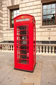 Traditional Red Telephone Box In London Uk