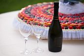 Wedding Cake And Champagne Bottle
