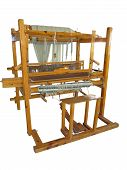Vintage Ancient Wooden Loom Isolated Over White