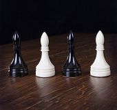 White And Black Chess Officers.