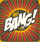 picture of explosion  - Big bang retro sign template - JPG