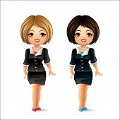 stock photo of chibi  - Cute character wearing a black suit and greeting with a smile - JPG