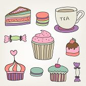 set of vector cute colorful hand drawn sweets, cakes