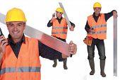 Worker with a walkie talkie