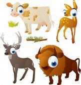 vector isolated cartoon cute animals set: ungulates: cow, deer, bison, doe