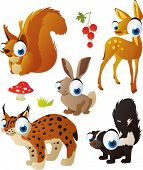 vector isolated cartoon cute animals set: forest: deer, squirrel, lynx, skunk, hare