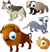 vector isolated cartoon cute animals set: forest: wolf, bison, otter, badger, hamster