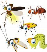 vector isolated cartoon cute animals set: firefly, owlfly, ant, caterpillar, beetle