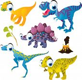 pic of tyrannosaurus  - vector isolated cartoon cute animals set - JPG