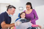 Pediatric dentist explaining to mother and her daughter the x-ray in dental clinic