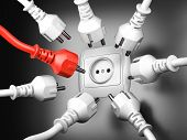 Red And White Power Plugs And A Socket - Leadership Concept