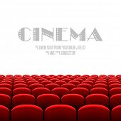Cinema auditorium with white screen and red seats. Vector.