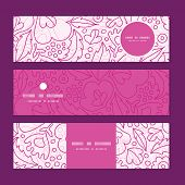 Vector pink flowers lineart horizontal banners set pattern background