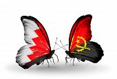 Two Butterflies With Flags On Wings As Symbol Of Relations Bahrain And Angola