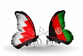 Two Butterflies With Flags On Wings As Symbol Of Relations Bahrain And Afghanistan
