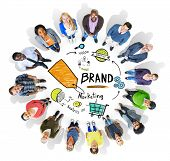 Diverse People Circle Aerial View Marketing Brand Concept