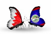 Two Butterflies With Flags On Wings As Symbol Of Relations Bahrain And Belize