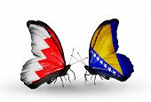 Two Butterflies With Flags On Wings As Symbol Of Relations Bahrain And Bosnia And Herzegovina
