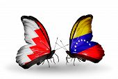 Two Butterflies With Flags On Wings As Symbol Of Relations Bahrain And Venezuela