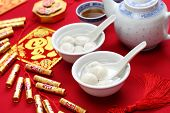 tangyuan, sweet rice ball, chinese new year food made from glutious rice flour