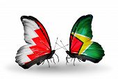Two Butterflies With Flags On Wings As Symbol Of Relations Bahrain And Guyana