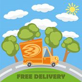 Free Delivery Van Truck With Fire Vinyl Logo. Vector.