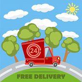 Free Delivery Van Truck With 24 Hour Vinyl Logo. Vector.
