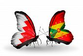 Two Butterflies With Flags On Wings As Symbol Of Relations Bahrain And Grenada