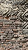 Section Of A Medieval Wall With Diagonal Stone And Brick poster