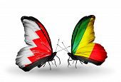 Two Butterflies With Flags On Wings As Symbol Of Relations Bahrain And   Kongo