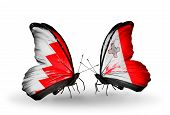 Two Butterflies With Flags On Wings As Symbol Of Relations Bahrain And Malta