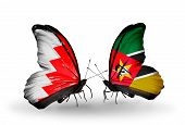 Two Butterflies With Flags On Wings As Symbol Of Relations Bahrain And Mozambique