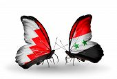 Two Butterflies With Flags On Wings As Symbol Of Relations Bahrain And Syria