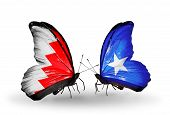 Two Butterflies With Flags On Wings As Symbol Of Relations Bahrain And Somalia