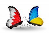 Two Butterflies With Flags On Wings As Symbol Of Relations Bahrain And  Ukraine